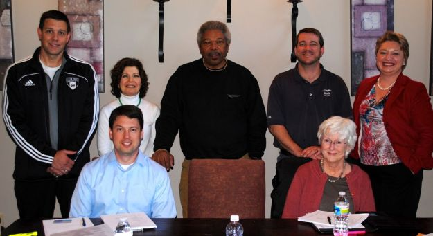 2013 Governors Village POA Board of Directors. Left to right. Seated: John Eberhard and Rosemary McGee. Standing: Chris Gamber, Co-President; Josephine Watta, Otto White, Wesley Weaver, Co-President; and Alina Cochran, Community Manager. Not pictured: Jill Ehrenfeld, Terry O'Brien and Emily Walker. Photo credit: Ted Smith.
