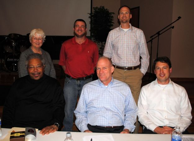 2014 GVPOA Board of Directors. Seated left to right: Otto White, Bill Hlavac, John Eberhard. Standing: Rosemary McGee, Wes Weaver, Daniel Guy. Not pictured: Cliff Simpson, Peter DeStaebler.