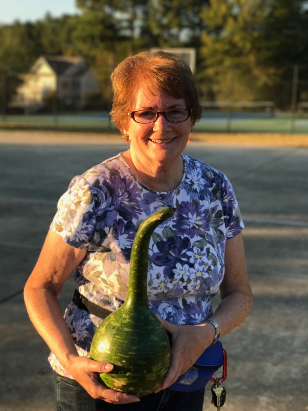Linda Kreiter found a beautiful gourd that perfect for the ring toss.