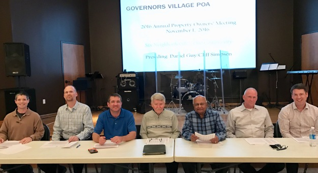 2016 Governors Village Board of Directors. Pictured just before the start of the Annual Property Owners Meeting, left to right: Cliff Simpson, Daniel Guy, Wes Weaver, Ted Smith, Kalyan Ghosh, Bill Hlavac, John Eberhard. Not pictured: Adele McLean, LaVerne Blankenship.