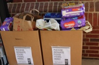 Food Bank collection boxes filled to the brim